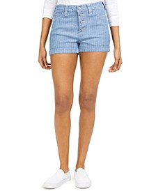 Junior's Striped Button-Fly Shorts