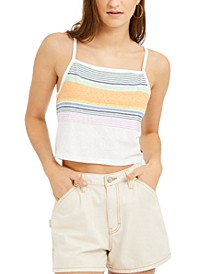 Junior's Sunset Striped Cropped Tank Top