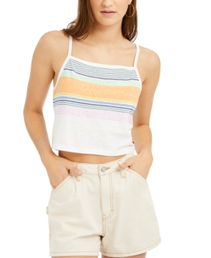 Dickies Junior's Sunset Striped Cropped Tank Top In White