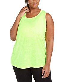 Plus Size Mesh-Inset Tank Top, Created for Macy's
