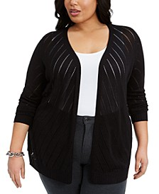 Plus Size Diagonal-Striped Cardigan