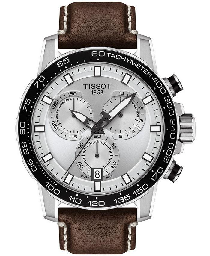 Tissot - Men's Swiss T-Sport Supersport Chrono Brown Leather Strap Watch 46mm