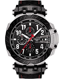 Men's Swiss Automatic Chronograph T-Race MotoGP 2020 Black Perforated Rubber Strap Watch 49mm - Limited Edition
