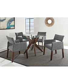 Amy 5-Pc. Dining Set, (Round Glass Table & 4 Side Chairs in Gray)