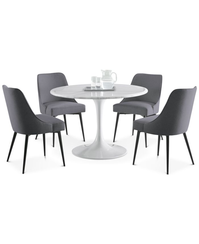 Steve Silver Colfax 5-Pc. Dining Set, (White Table & 4 Side Chairs) & Reviews - Furniture - Macy's