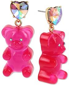 Gold-Tone Crystal Heart & Gummy Bear Drop Earrings