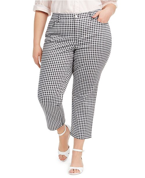Charter Club Plus Size Tummy-Control Gingham Jeans, Created for Macy's