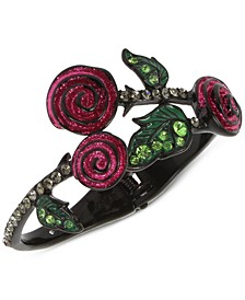 Black-Tone Pavé Leaf & Glitter Rose Bangle Bracelet