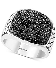 EFFY® Men's Black Spinel Cluster Ring in Sterling Silver