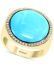 EFFY® Turquoise & Diamond (1/4 ct. t.w.) Statement Ring in 14k Gold