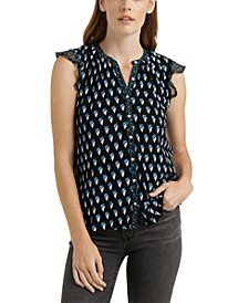 Woodblock Printed Sleeveless Shirt