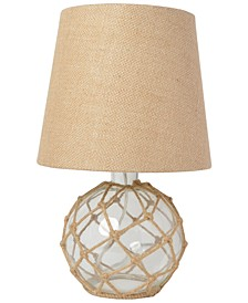 Elegant Designs Buoy Rope Nautical Netted Coastal Ocean Sea Glass Table Lamp Shade