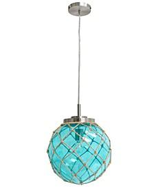 Elegant Designs Buoy Netted Brushed Nickel Coastal Ocean Sea Glass Pendant with Natural Rope