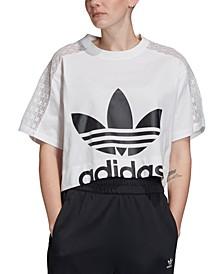 Women's Cotton Lace-Trimmed Cropped T-Shirt