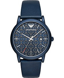 Men's Blue Leather Strap Watch 43mm