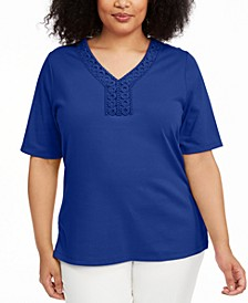 Plus Size V-Neck Crochet Top, Created for Macy's
