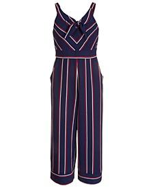 Big Girls Striped Tie-Front Pebble Crepe Jumpsuit