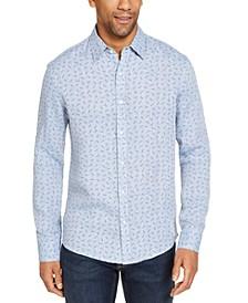 Men's Slim-Fit Allover MK Print Linen Shirt