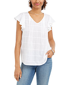 Style & Co Cotton Plaid Flutter-Sleeve Top, Created for Macy's