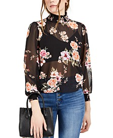 Floral Smock-Neck Top, Created for Macy's