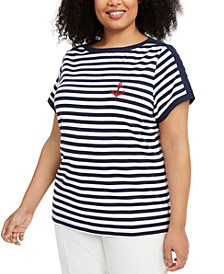 Plus Size Anchor Stripe Cotton Top, Created for Macy's