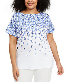 Karen Scott Plus Size Butterfly-Print Top, Created for Macy's