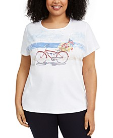 Plus Size Bicycle Graphic Top, Created for Macy's