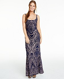 Juniors' Lace-Up Glitter Gown