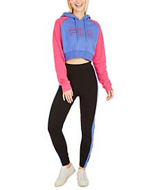 Colorblocked Cropped Hoodie & Striped High-Waist Leggings