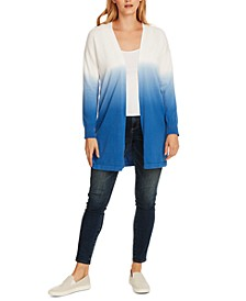 Cotton Gradient Open-Front Cardigan