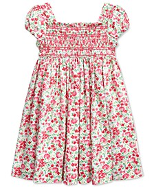 Toddler Girls Floral Smocked Cotton Dress