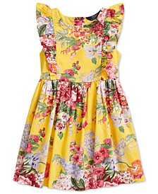 Little Girls Floral Ruffled Cotton Dress