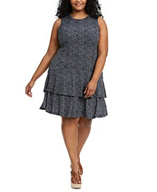 Plus Size Blooms Flounce Dress