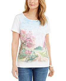 Petite Summer Cycle Graphic Top, Created for Macy's