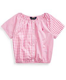 Little Girls Mixed-Gingham Cotton Top