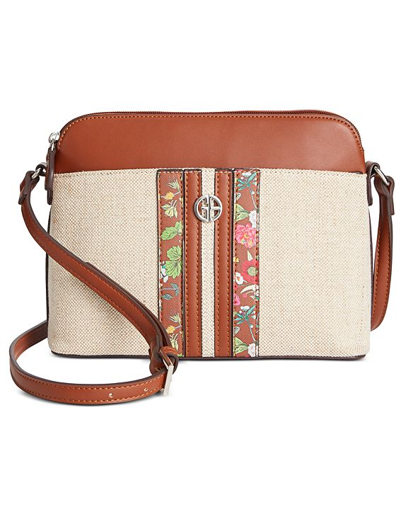 Giani Bernini Floral Linen Dome Crossbody, Created for Macy's