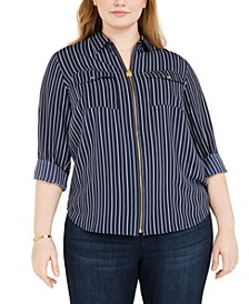 Plus Size Striped Zip-Up Utility Shirt