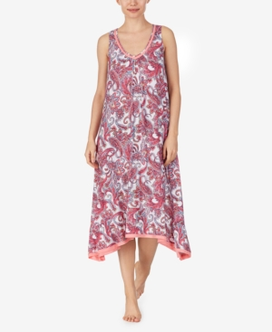 Ellen Tracy Knit Midi Nightgown In Coral Paisley