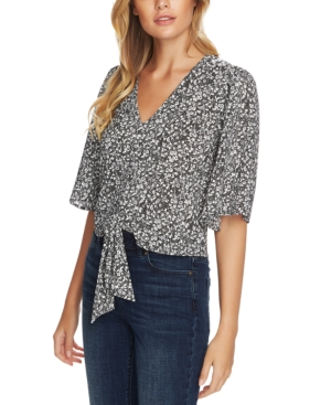 1.state FOLK SILHOUETTE FLORAL-PRINT TIE TOP