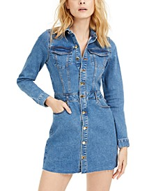 Long-Sleeve Fitted Denim Dress