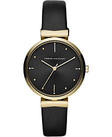 Women's Zoe Black Leather Strap Watch 36mm