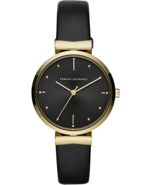 Women's Zoe Black Leather Strap Watch 36mm
