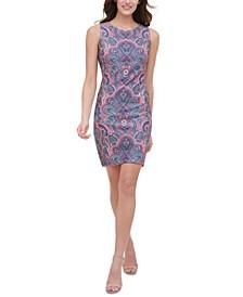 Paisley-Print Scuba Sheath Dress
