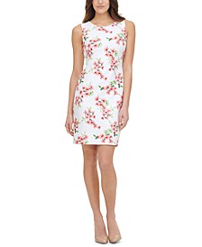 Petite Floral-Print Scuba Sheath Dress