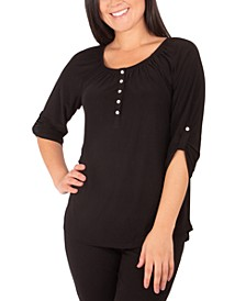 Roll-Cuff Buttoned-Neck Top