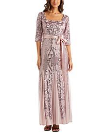 Petite Sequinned Godet-Hem Gown