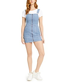 Juniors' Zip-Front Overall Mini Dress