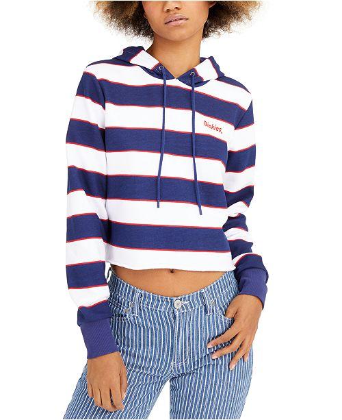 Dickies Junior's Striped Logo Cropped Hoodie