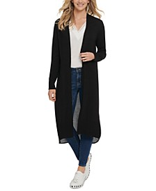 Mixed-Media Duster Cardigan