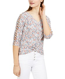 Juniors' Ditsy Floral Lattice-Sleeve Top